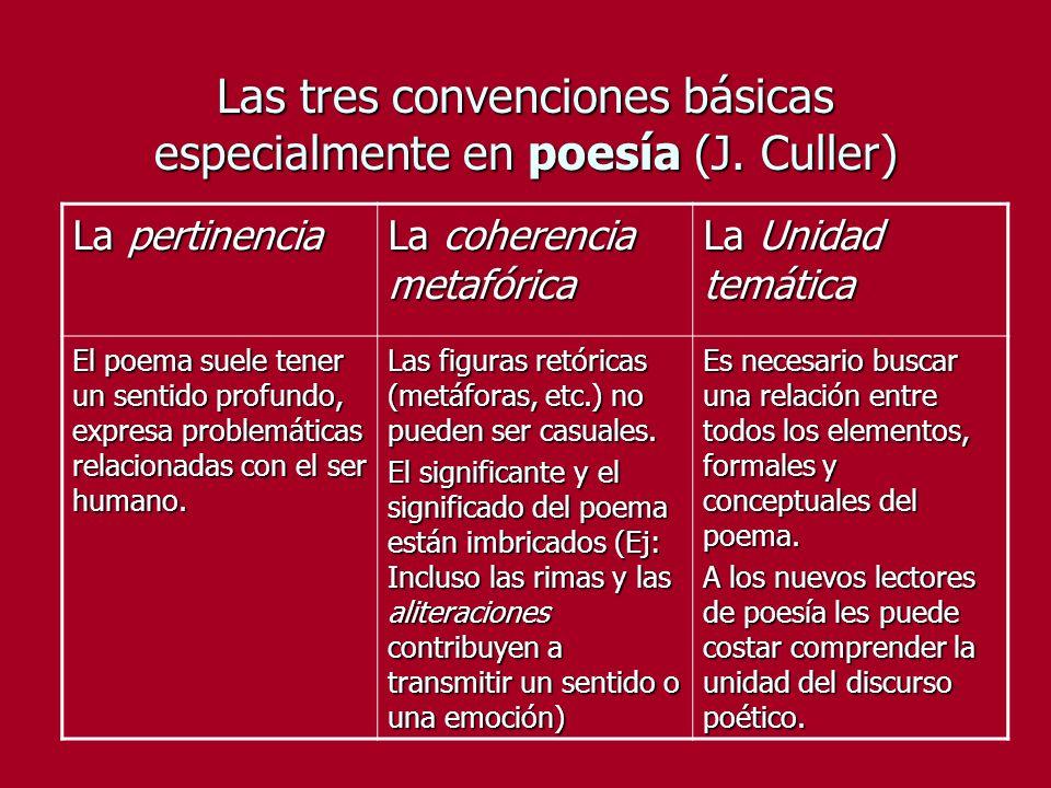 Las tres convenciones básicas especialmente en poesía (J. Culler)