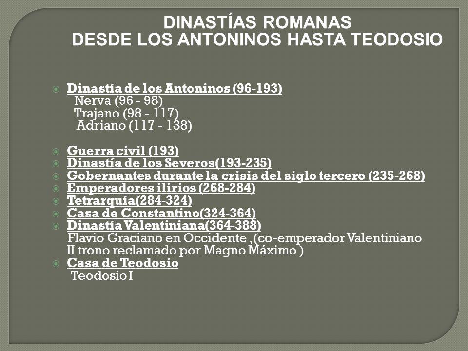 DESDE LOS ANTONINOS HASTA TEODOSIO