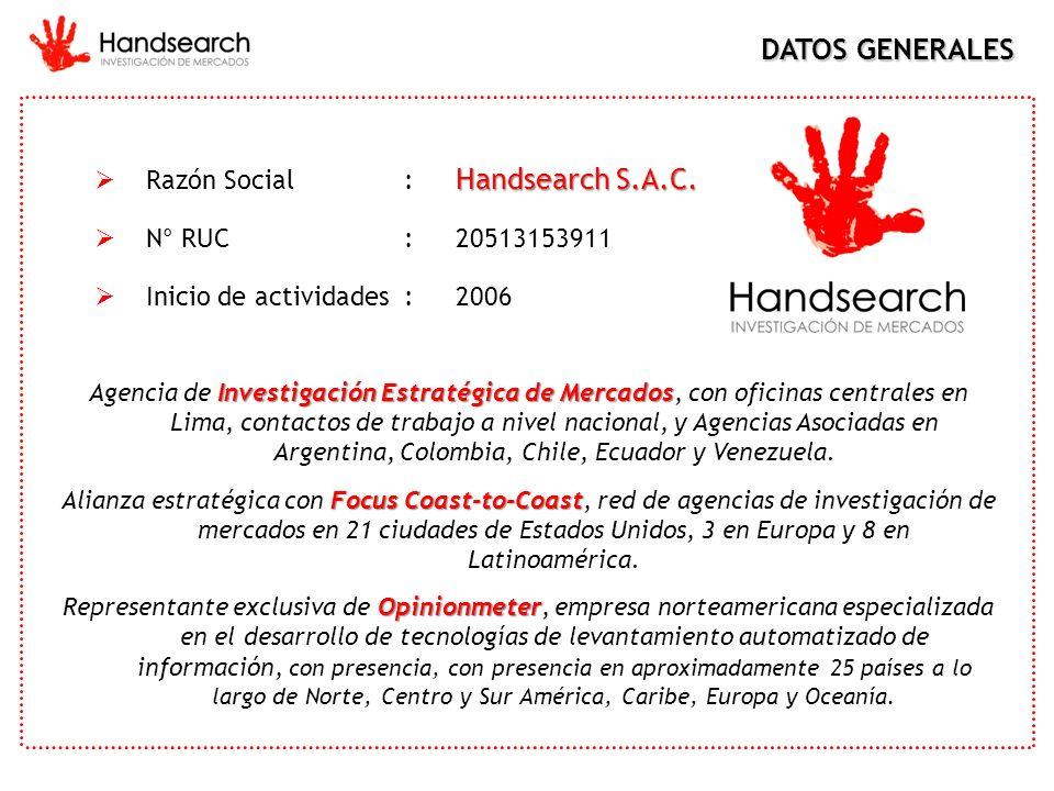 DATOS GENERALES Razón Social : Handsearch S.A.C. N° RUC : 20513153911