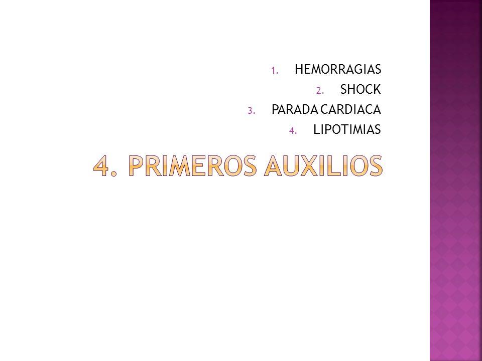 HEMORRAGIAS SHOCK PARADA CARDIACA LIPOTIMIAS 4. Primeros auxilios