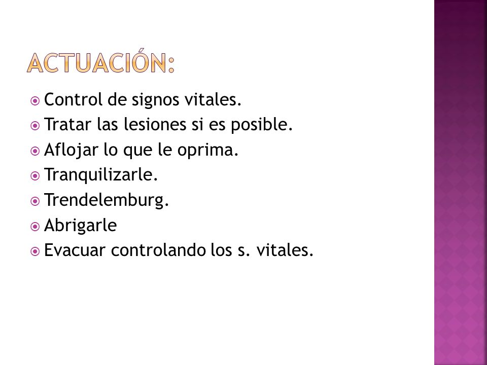 ACTUACIÓN: Control de signos vitales.