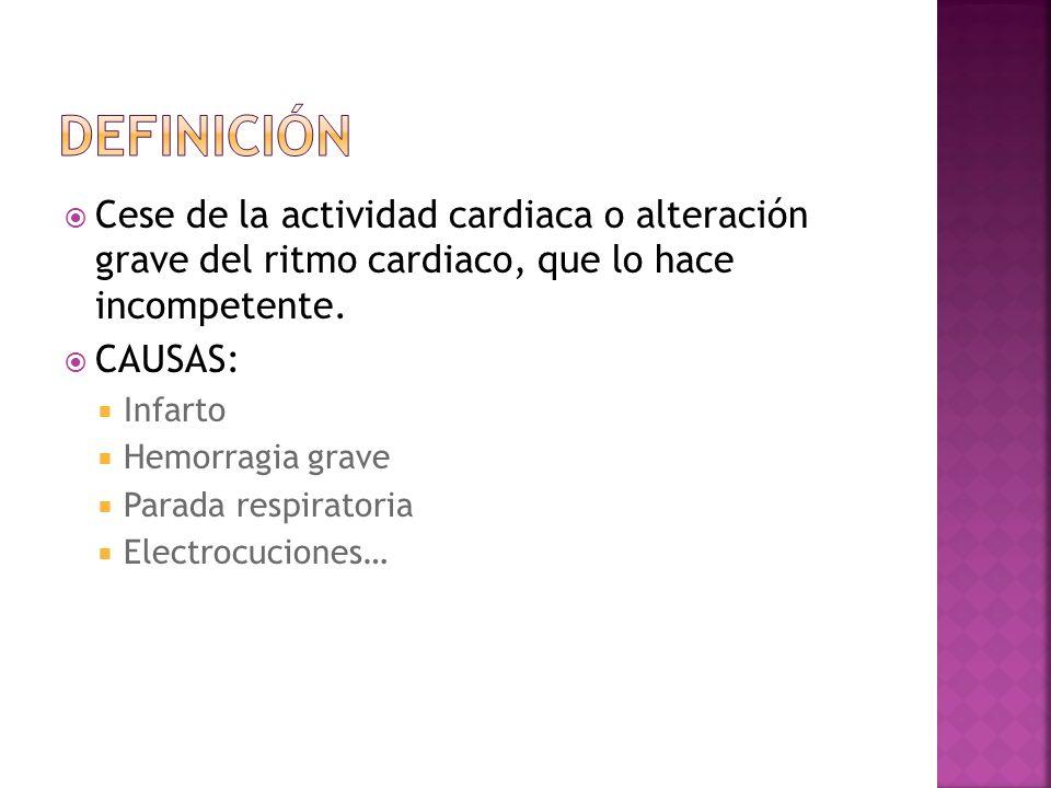 Definición Cese de la actividad cardiaca o alteración grave del ritmo cardiaco, que lo hace incompetente.