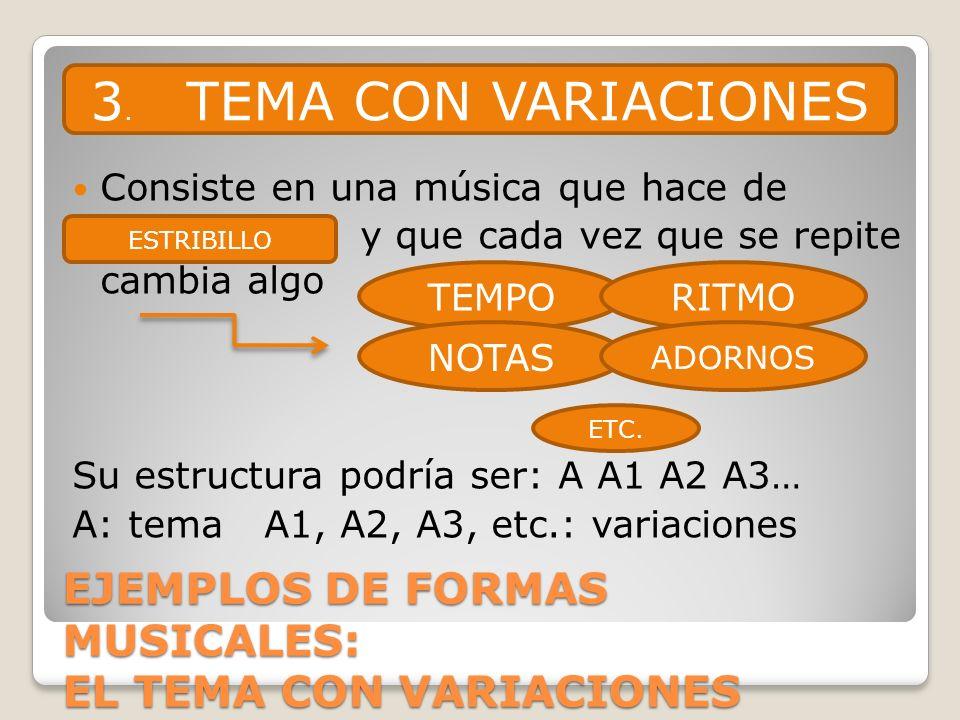 EJEMPLOS DE FORMAS MUSICALES: EL TEMA CON VARIACIONES