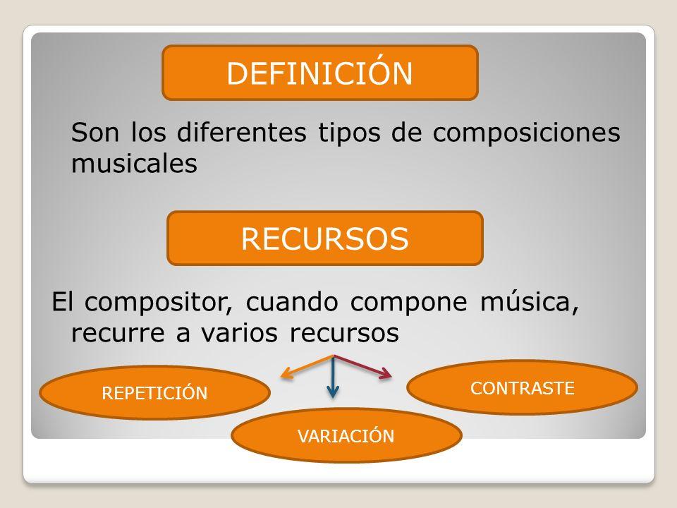 Son los diferentes tipos de composiciones musicales El compositor, cuando compone música, recurre a varios recursos