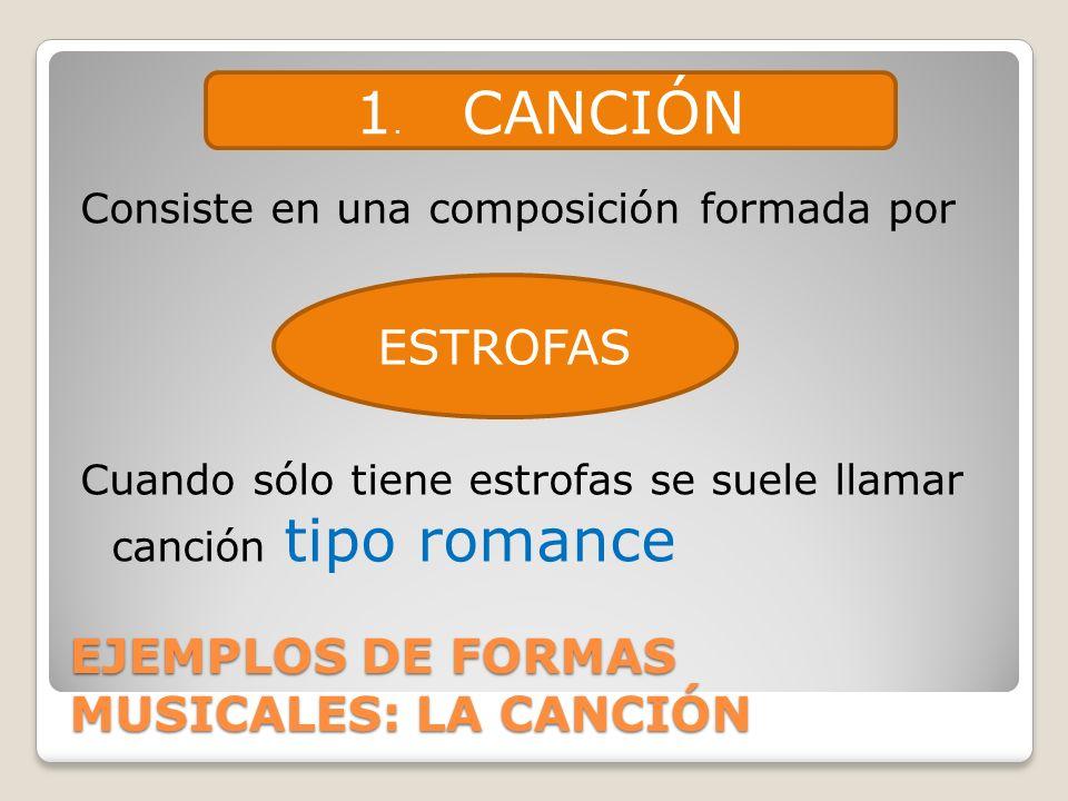 EJEMPLOS DE FORMAS MUSICALES: LA CANCIÓN