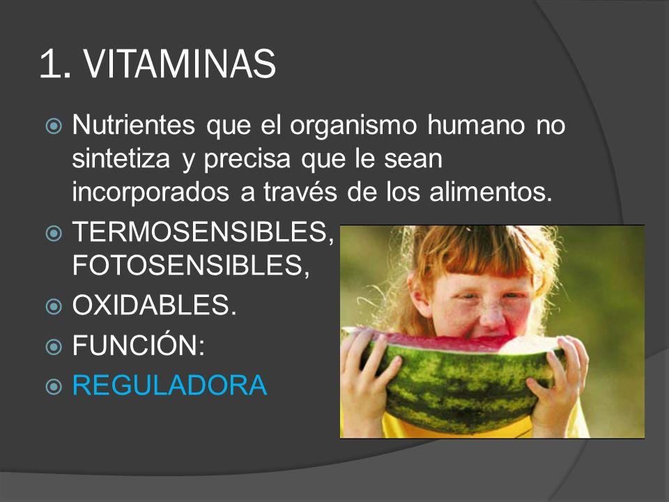 1. VITAMINAS Nutrientes que el organismo humano no sintetiza y precisa que le sean incorporados a través de los alimentos.