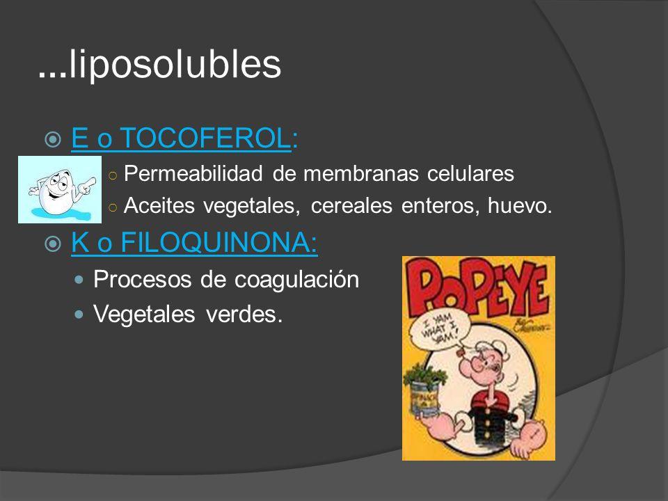 …liposolubles E o TOCOFEROL: K o FILOQUINONA: Procesos de coagulación