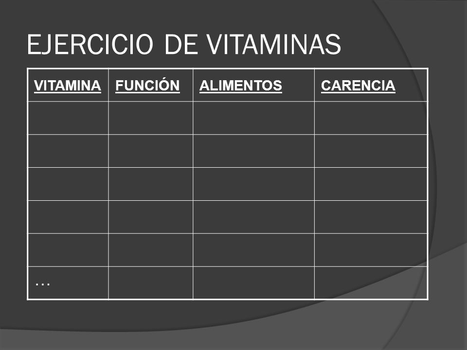EJERCICIO DE VITAMINAS