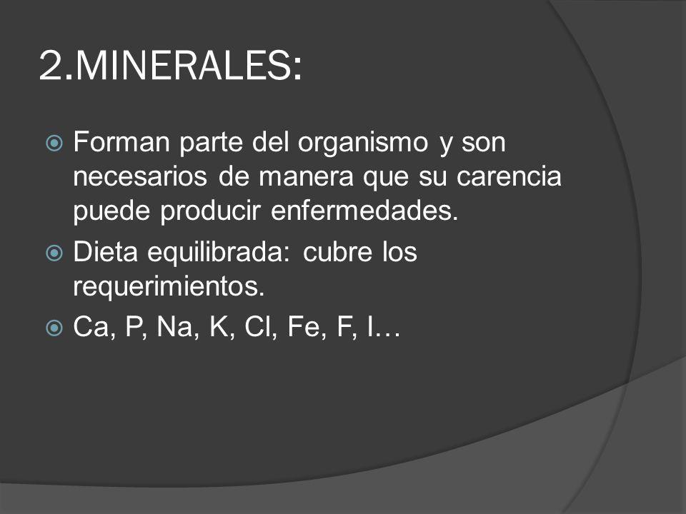 2.MINERALES: Forman parte del organismo y son necesarios de manera que su carencia puede producir enfermedades.
