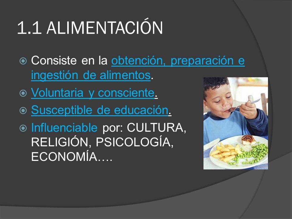 1.1 ALIMENTACIÓN Consiste en la obtención, preparación e ingestión de alimentos. Voluntaria y consciente.