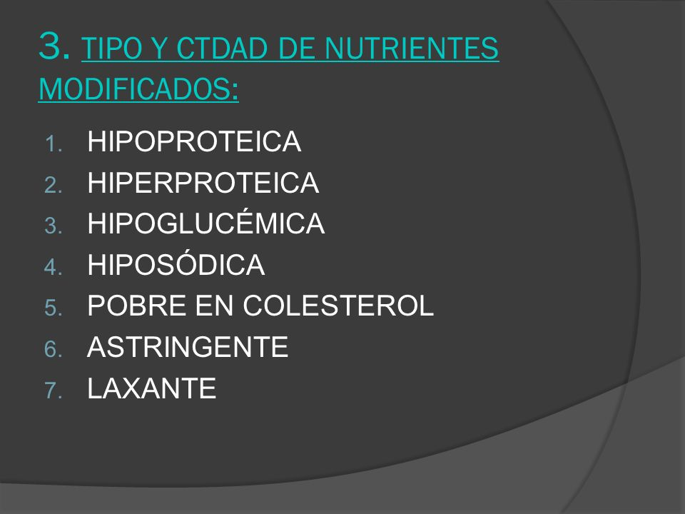 3. TIPO Y CTDAD DE NUTRIENTES MODIFICADOS: