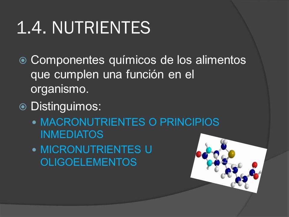 1.4. NUTRIENTES Componentes químicos de los alimentos que cumplen una función en el organismo. Distinguimos: