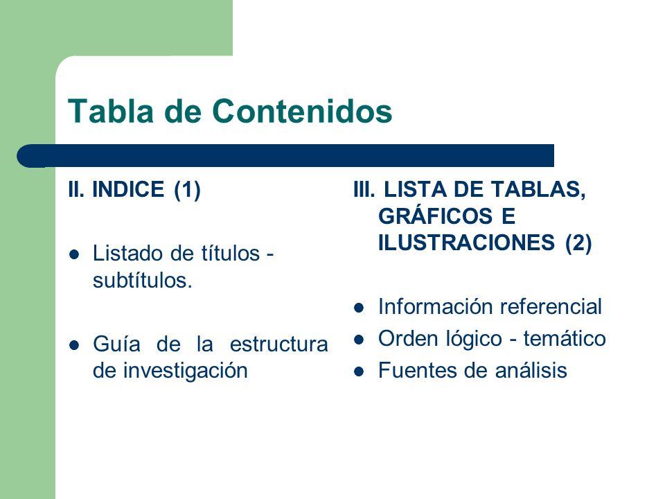 Tabla de Contenidos II. INDICE (1) Listado de títulos - subtítulos.