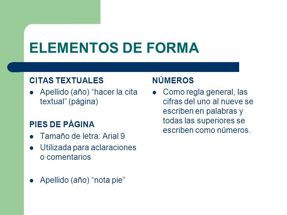 ELEMENTOS DE FORMA CITAS TEXTUALES