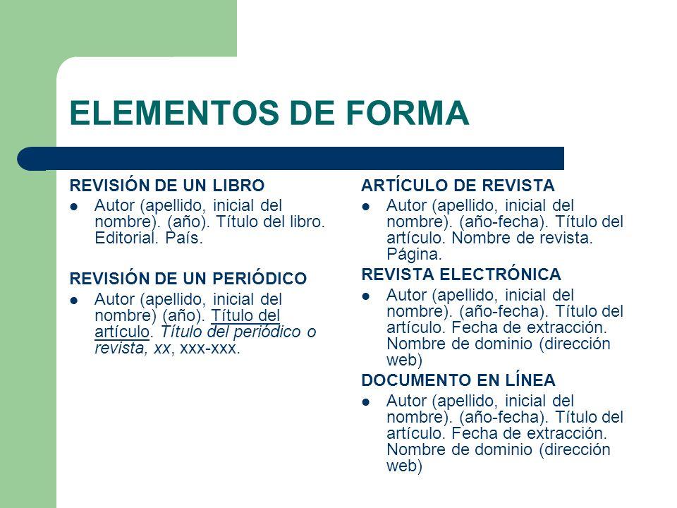 ELEMENTOS DE FORMA REVISIÓN DE UN LIBRO