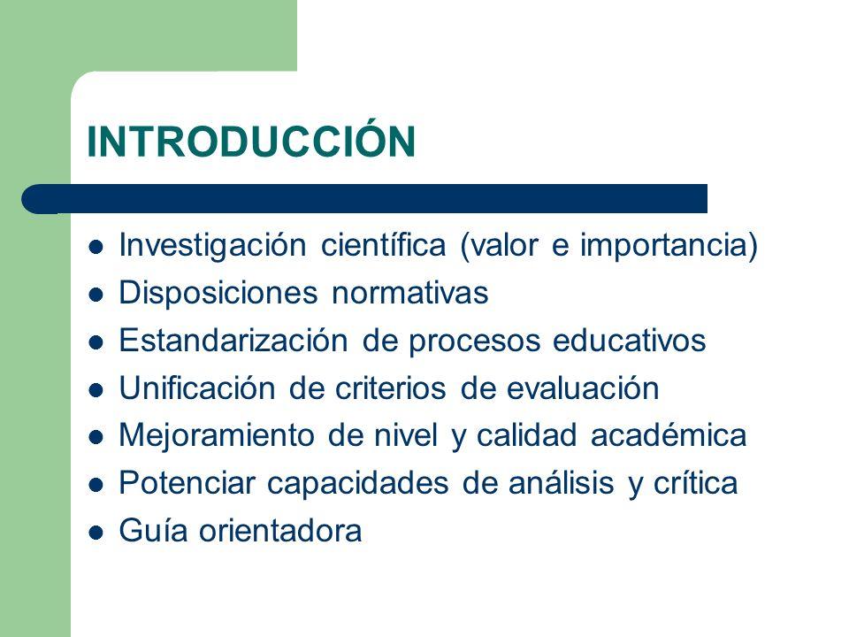 INTRODUCCIÓN Investigación científica (valor e importancia)