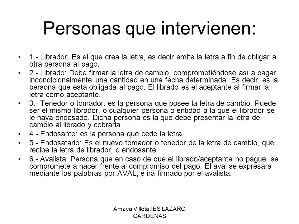 Personas que intervienen: