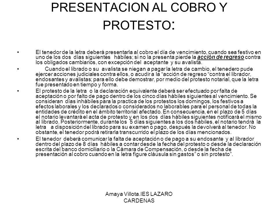 PRESENTACION AL COBRO Y PROTESTO: