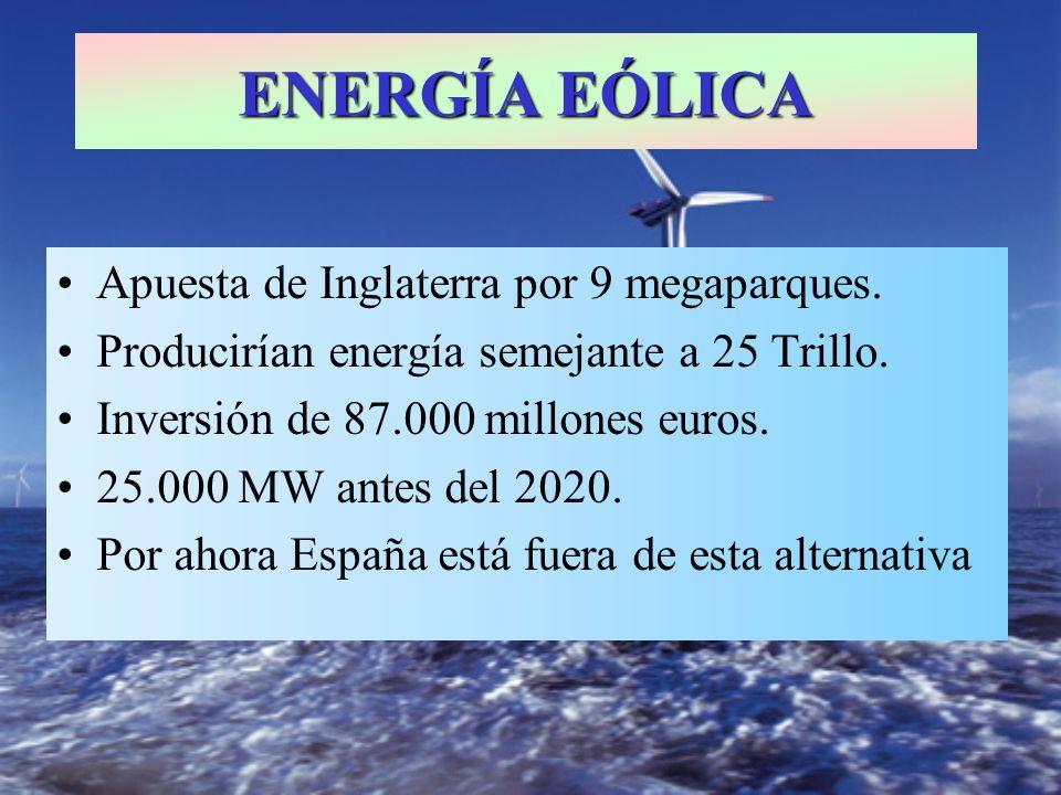 ENERGÍA EÓLICA Apuesta de Inglaterra por 9 megaparques.