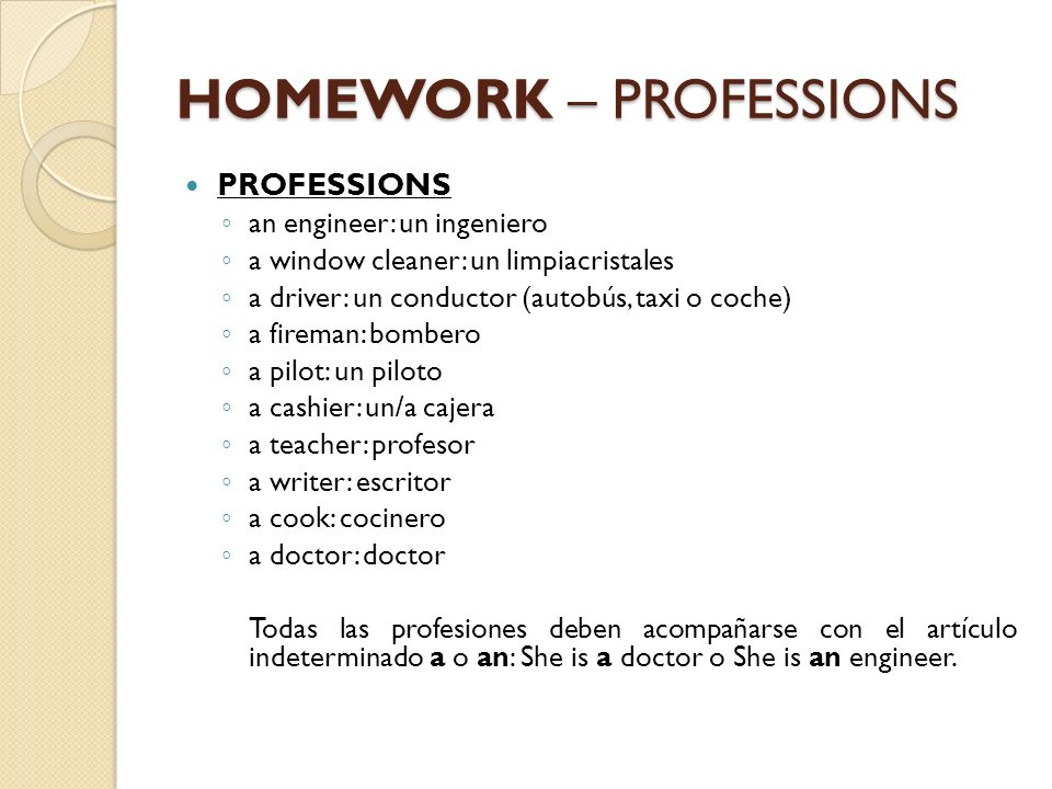 HOMEWORK – PROFESSIONS