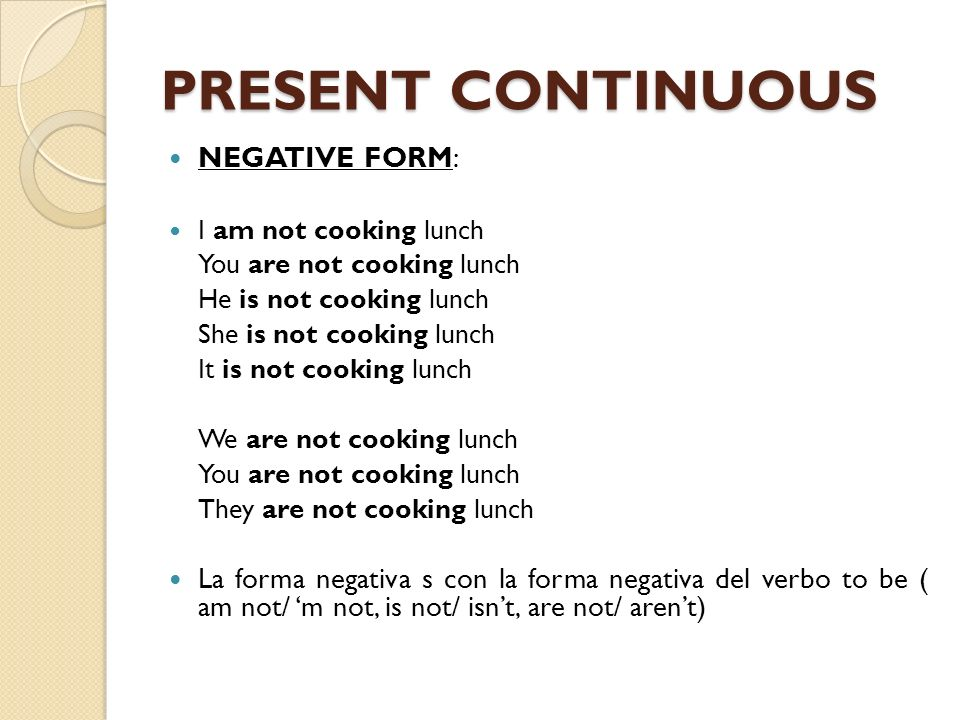 PRESENT CONTINUOUS NEGATIVE FORM: