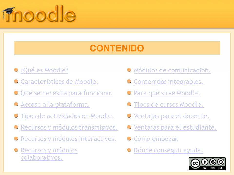 CONTENIDO ¿Qué es Moodle Características de Moodle.