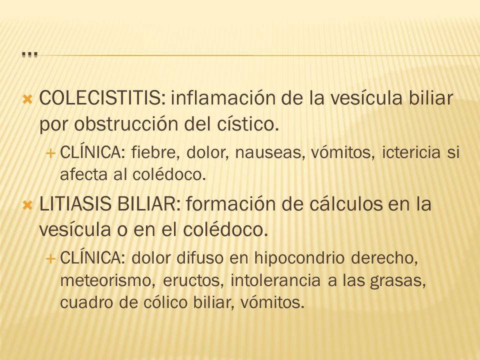 ... COLECISTITIS: inflamación de la vesícula biliar por obstrucción del cístico.