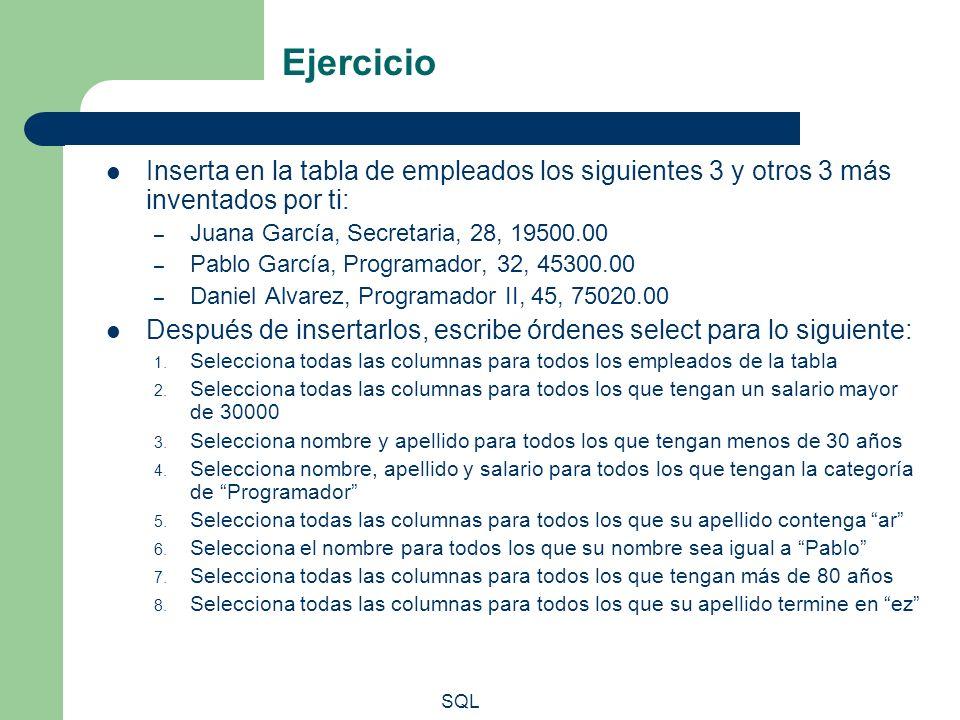 Ejercicio Inserta en la tabla de empleados los siguientes 3 y otros 3 más inventados por ti: Juana García, Secretaria, 28, 19500.00.