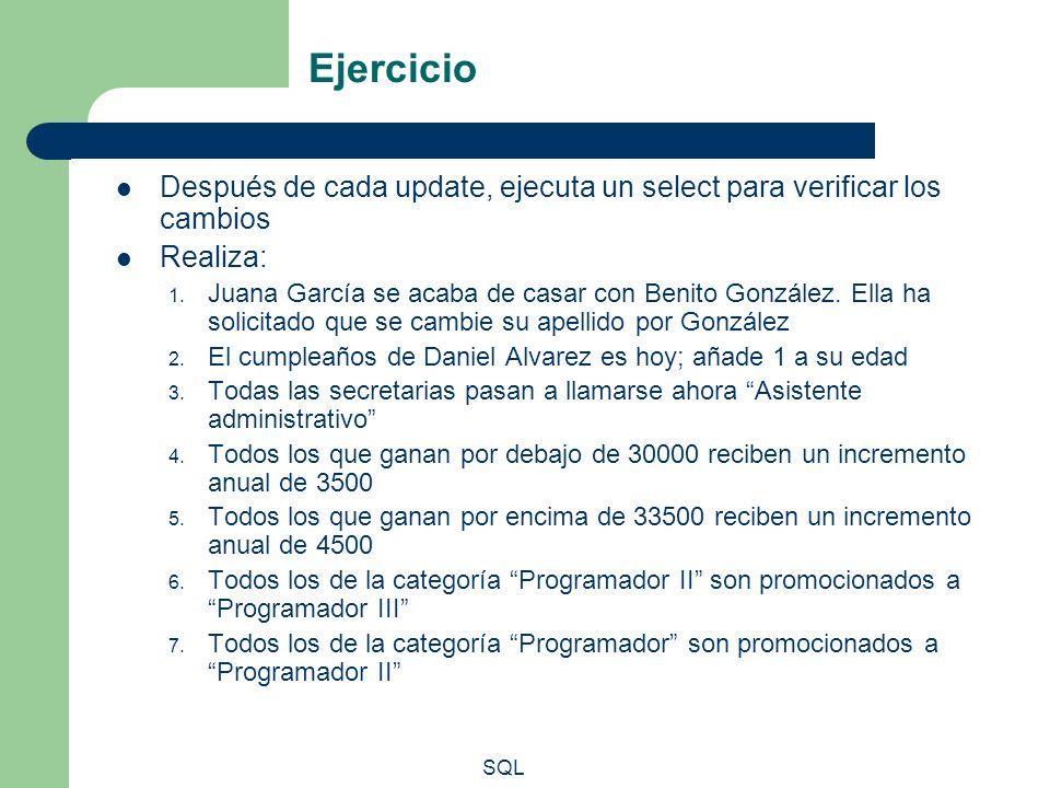 Ejercicio Después de cada update, ejecuta un select para verificar los cambios. Realiza: