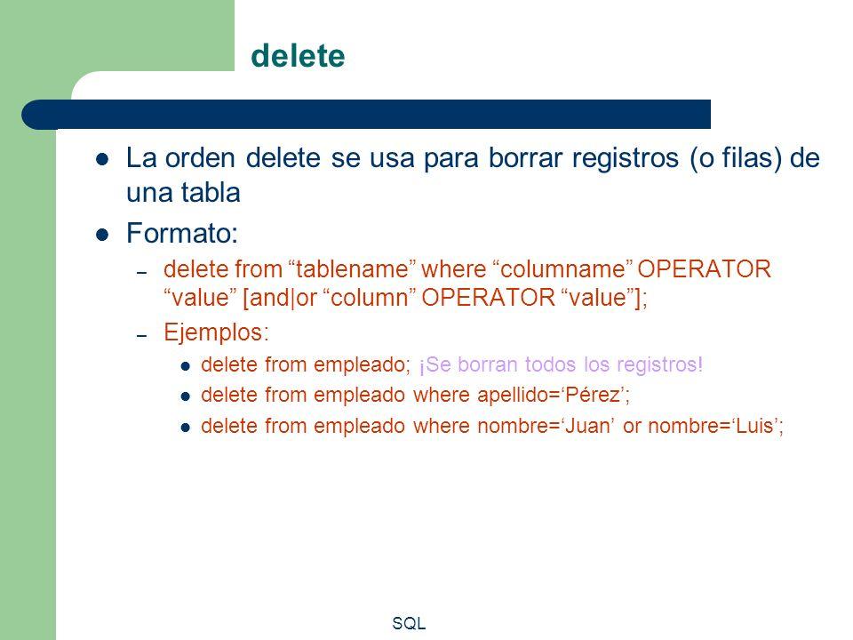 delete La orden delete se usa para borrar registros (o filas) de una tabla. Formato: