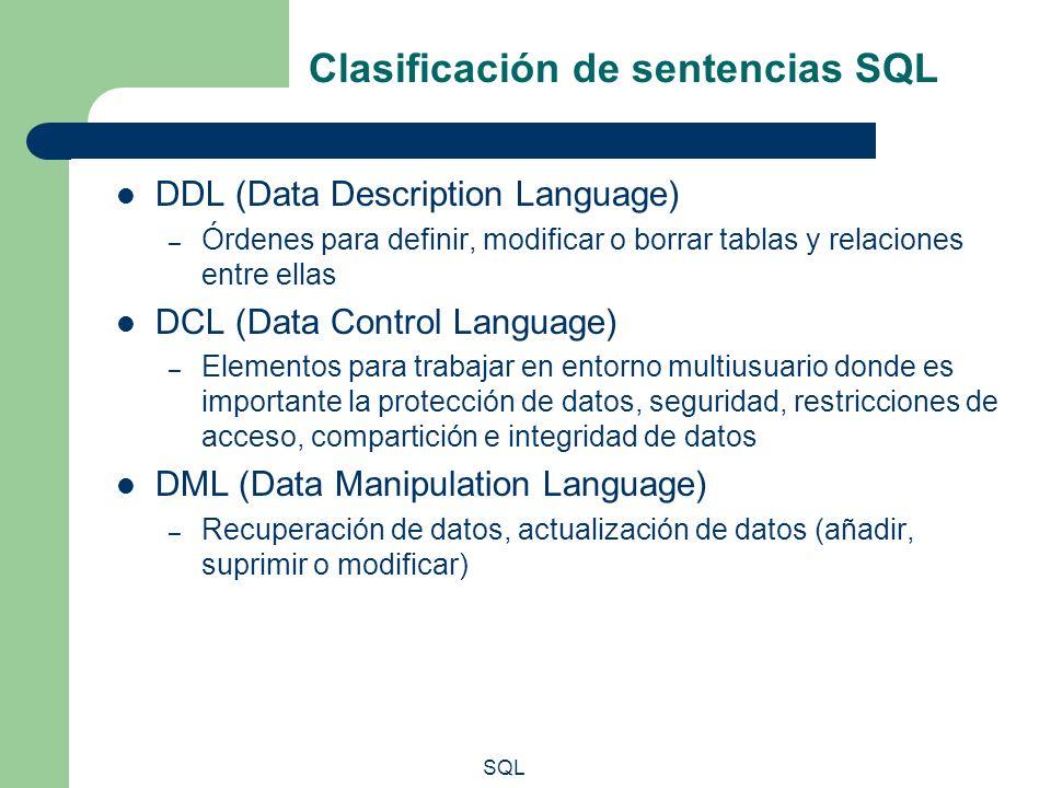 Clasificación de sentencias SQL