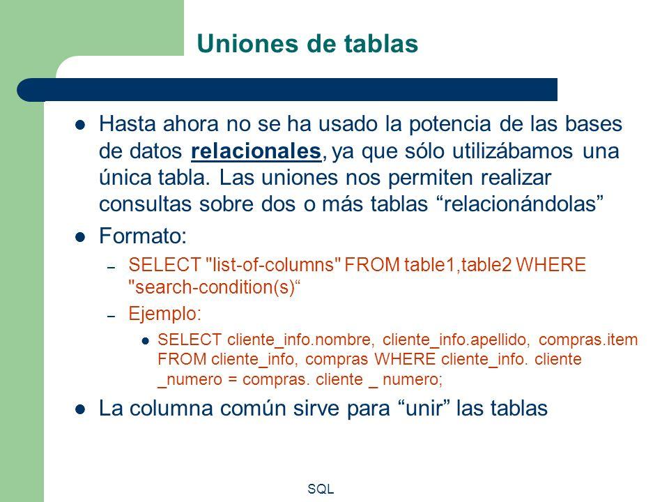 Uniones de tablas