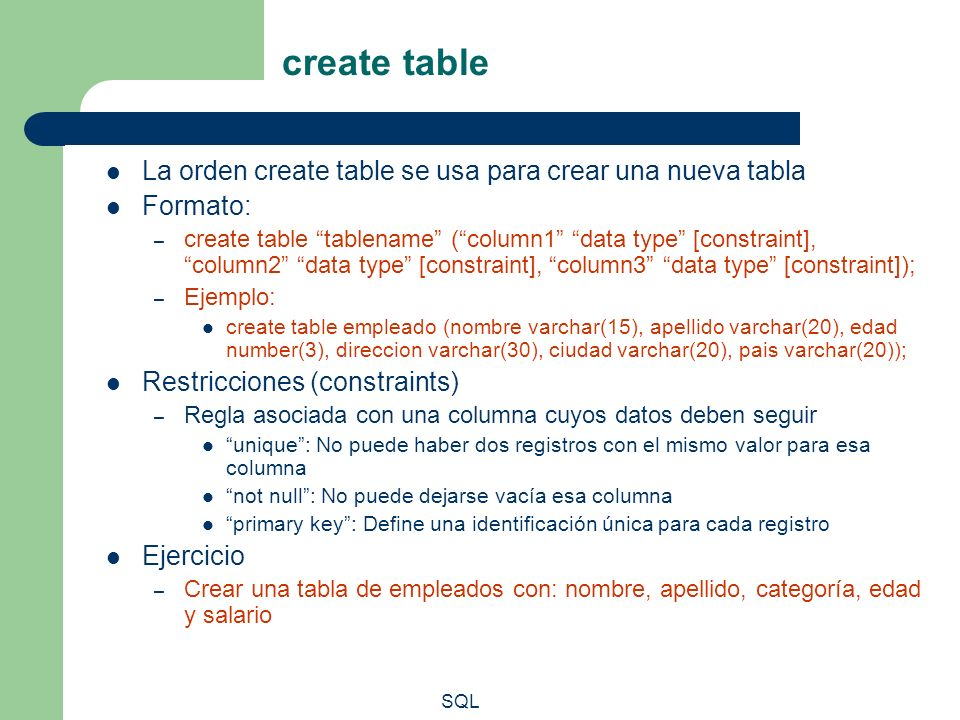 create table La orden create table se usa para crear una nueva tabla