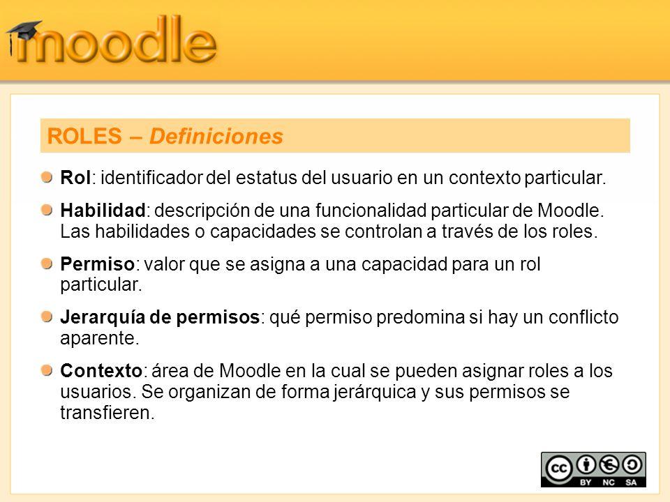 ROLES – Definiciones Rol: identificador del estatus del usuario en un contexto particular.