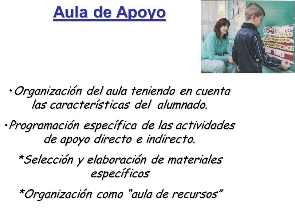 Aula de Apoyo Organización del aula teniendo en cuenta las características del alumnado.