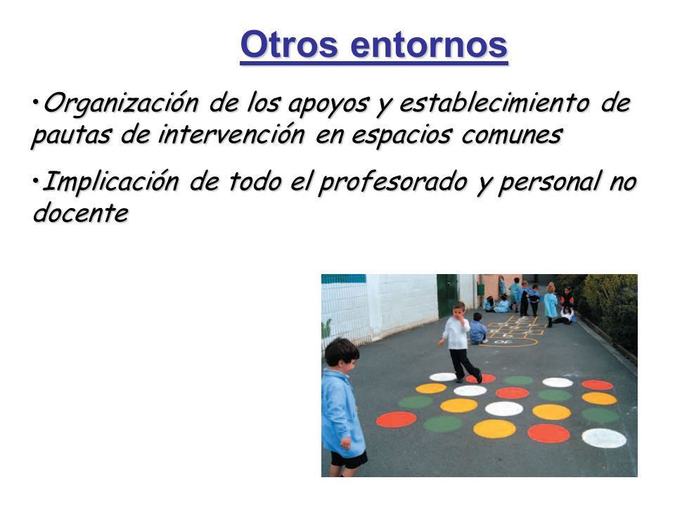 Otros entornos Organización de los apoyos y establecimiento de pautas de intervención en espacios comunes.