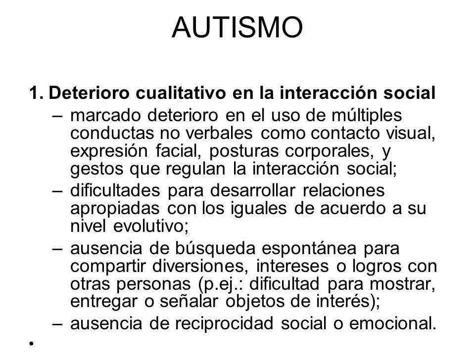 AUTISMO Deterioro cualitativo en la interacción social
