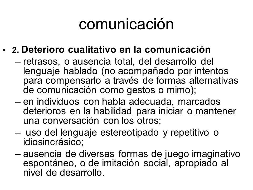 comunicación 2. Deterioro cualitativo en la comunicación.