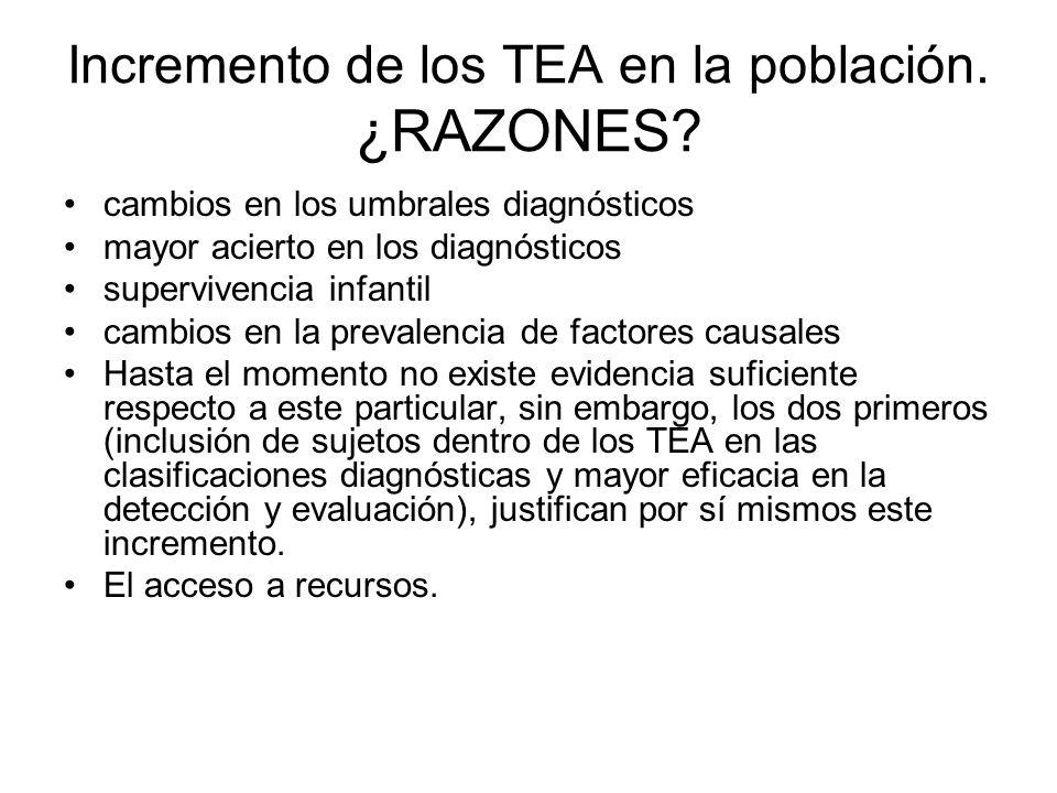 Incremento de los TEA en la población. ¿RAZONES
