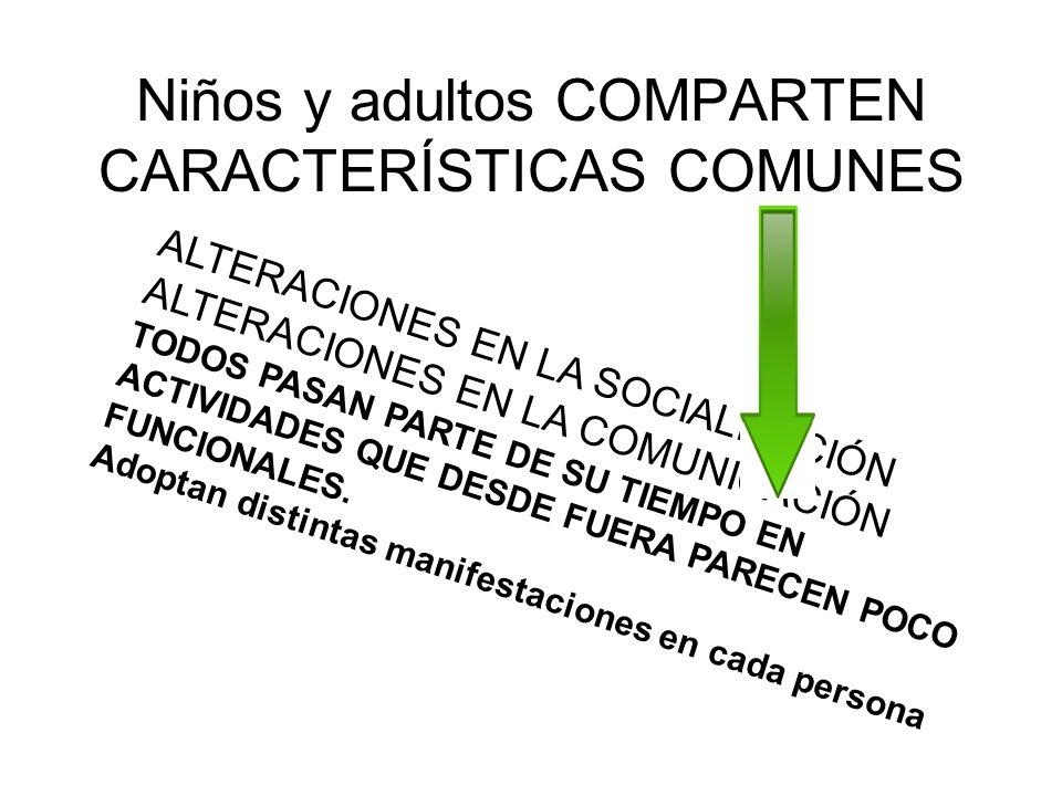 Niños y adultos COMPARTEN CARACTERÍSTICAS COMUNES