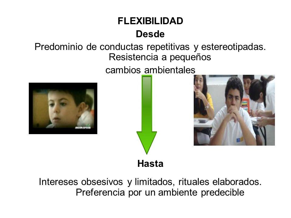 FLEXIBILIDAD Desde. Predominio de conductas repetitivas y estereotipadas. Resistencia a pequeños. cambios ambientales.