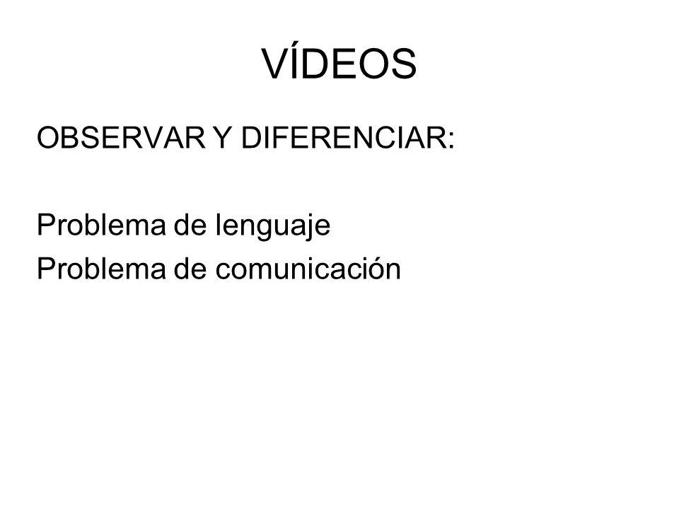 VÍDEOS OBSERVAR Y DIFERENCIAR: Problema de lenguaje
