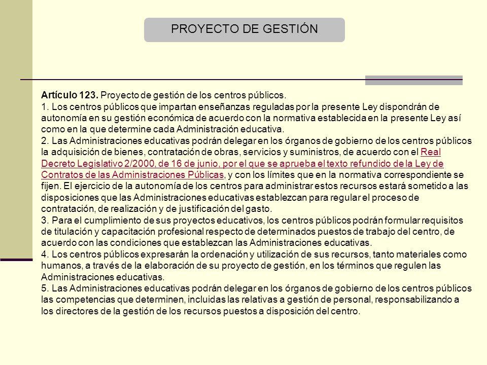 PROYECTO DE GESTIÓN Artículo 123. Proyecto de gestión de los centros públicos.