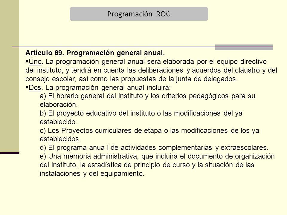 Programación ROC Artículo 69. Programación general anual.
