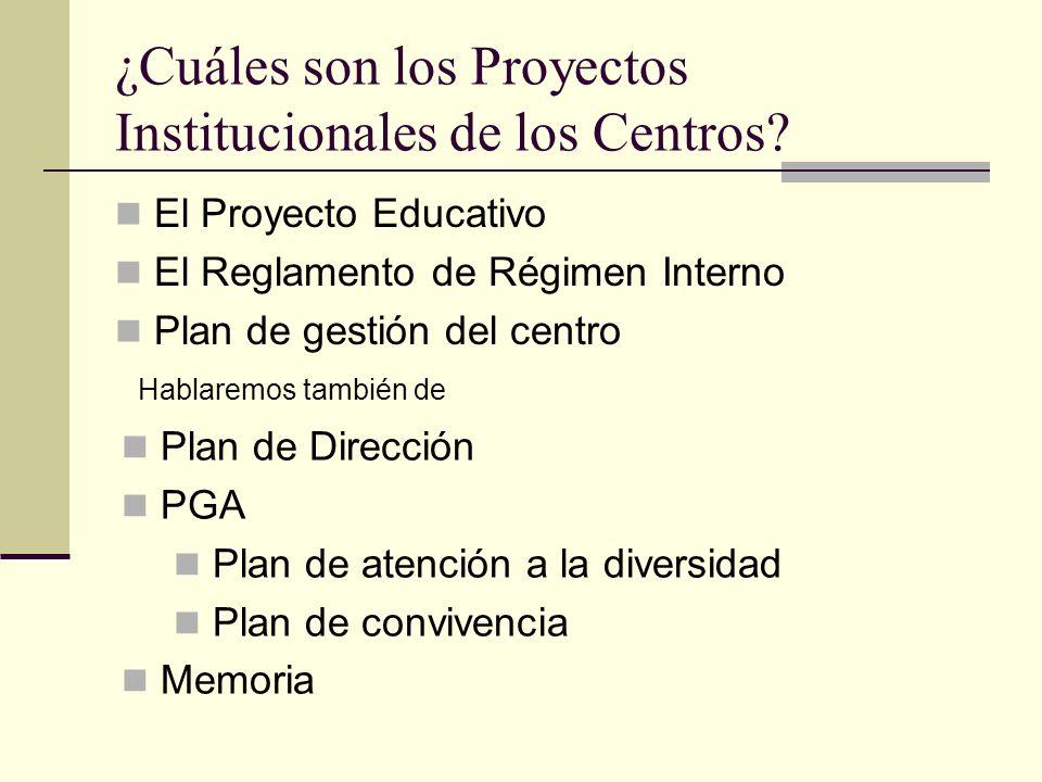 ¿Cuáles son los Proyectos Institucionales de los Centros