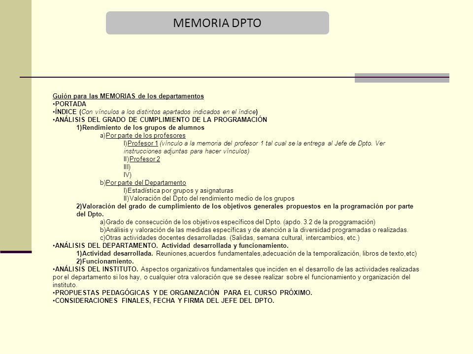 MEMORIA DPTO 23 Guión para las MEMORIAS de los departamentos PORTADA
