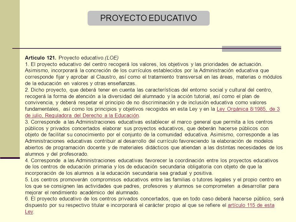 PROYECTO EDUCATIVO Artículo 121. Proyecto educativo.(LOE)