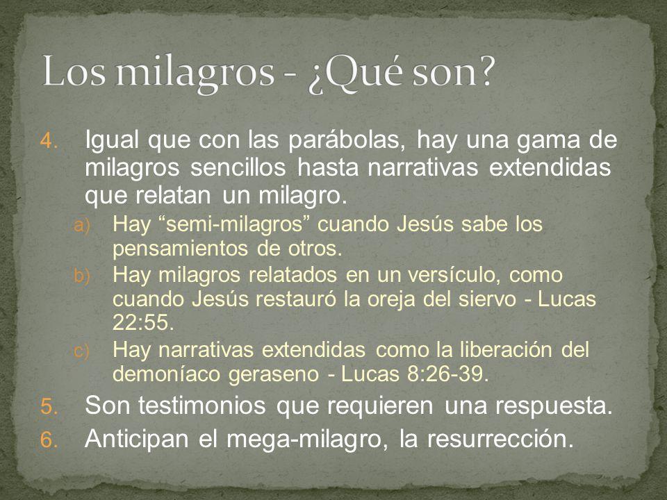 Los milagros - ¿Qué son Igual que con las parábolas, hay una gama de milagros sencillos hasta narrativas extendidas que relatan un milagro.