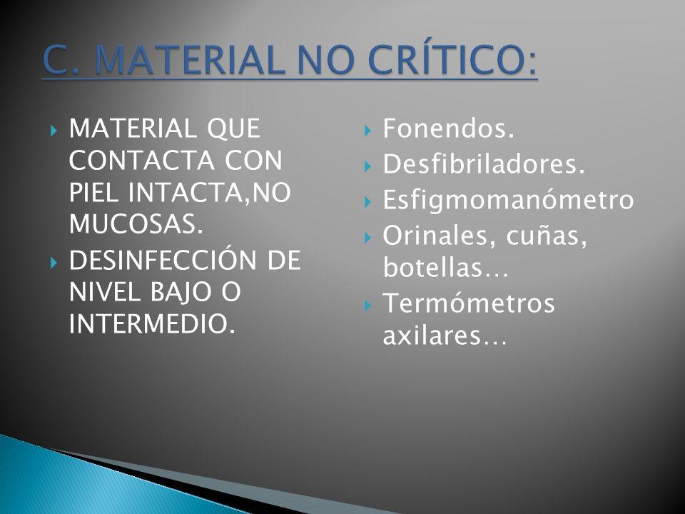 C. MATERIAL NO CRÍTICO:MATERIAL QUE CONTACTA CON PIEL INTACTA,NO MUCOSAS. DESINFECCIÓN DE NIVEL BAJO O INTERMEDIO.
