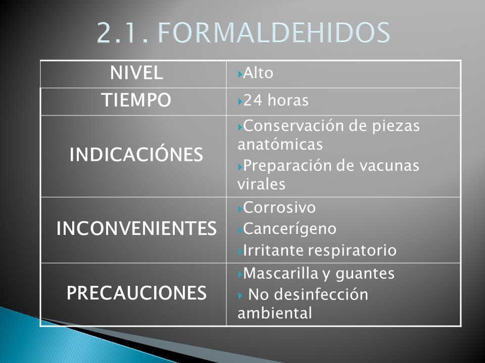 2.1. FORMALDEHIDOS NIVEL TIEMPO INDICACIÓNES INCONVENIENTES